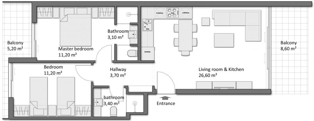 Продажа апартаментов в Breeze 2+1 Сиде Турция